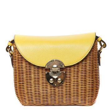 Miu Miu Rattan & Leather Small Shoulder Bag