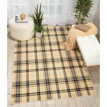 Nourison Grafix Plaid Cream/Black Area Rug