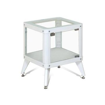 Furniture of America Liam White Glass Side Table