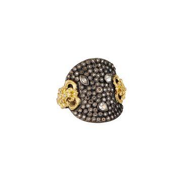 Old World Round Ring w/ Diamonds & Sapphires, Size 6-7
