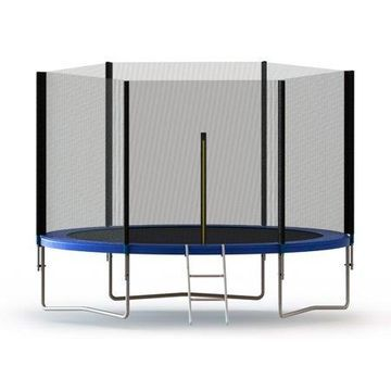 ALEKO Trampoline with Safety Net and Ladder - 10 Feet - Black and Blue