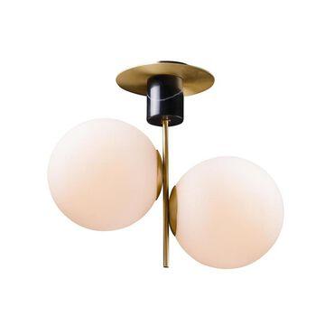 Maxim Lighting Vesper 20-in Satin Brass/Black Transitional Incandescent Semi-flush Mount Light