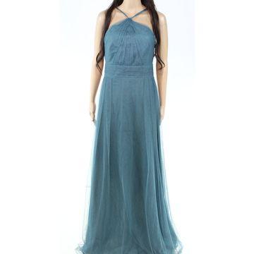 Monique Lhuillier Women's Dress Blue Size 12 Gown Halter Pleated