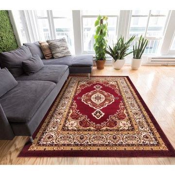 Well Woven Dulcet Isfahan Medallion Traditional Red Area Rug