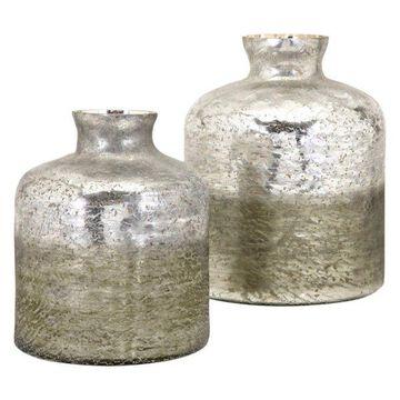 Imax Glass 2-Piece Set Vases, Gray Finish