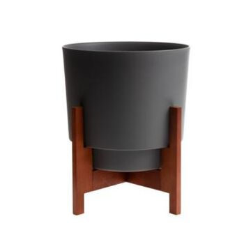 """Bloem Hopson 10"""" Planter with Wood Stand"""