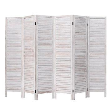 Goplus 6 Panel Room Divider Furniture Classic Venetian Wooden Slat Home 67 in. Tall in White | HW53906