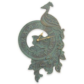Whitehall Products Peacock 16-Inch Wall Clock in Bronze Verdigris