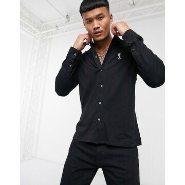 Religion grandad collar jersey shirt in black