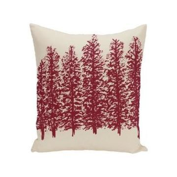 16 Inch Off White and Red Decorative Floral Throw Pillow
