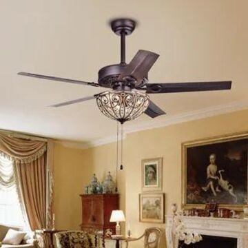 Catalina Bronze 5-blade 48-inch Crystal Ceiling Fan (Optional Remote) (Antique Bronze Pull Chain)