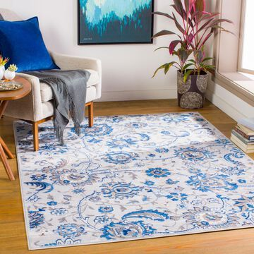 """Art of Knot Gracil Gray 5'3"""" x 7' Traditional Floral Area Rug"""