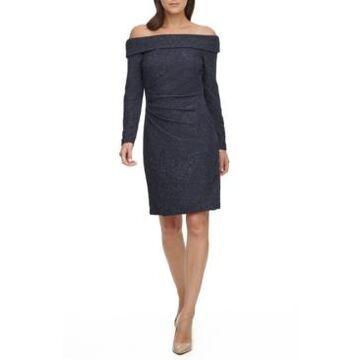 Eliza J Off-The-Shoulder Glitter Sheath Dress