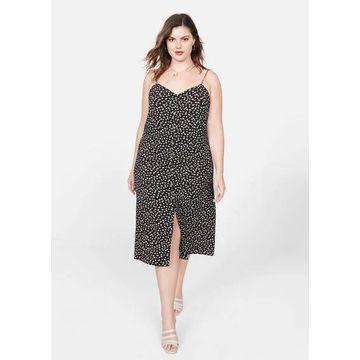 Violeta BY MANGO - Midi floral dress black - 18 - Plus sizes
