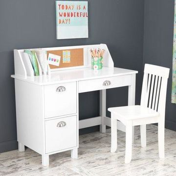 KidKraft Study Desk with Chair - White