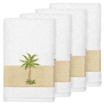 Authentic Hotel and Spa Turkish Cotton Palm Tree Embroidered White Hand Towels (Set of 4)