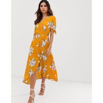 AX Paris floral print wrap midi dress-Yellow