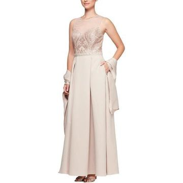 Alex Evenings Womens Satin Illusion Formal Dress