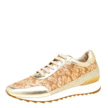 Loriblu Metalllic Gold Leather and Lace Sneakers Size 41