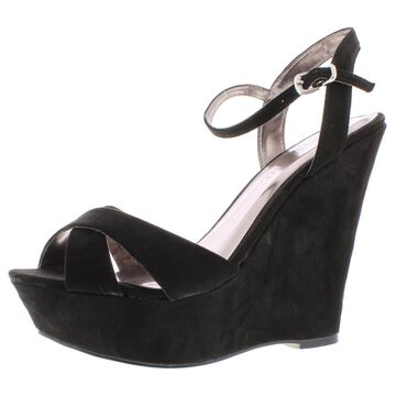 Madden Girl Womens Evonne Faux Suede Ankle Strap Wedge Sandals