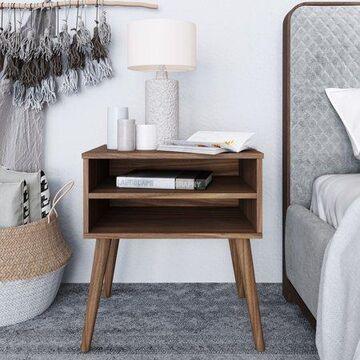 Premier Ribera Mid-Century Modern Open Shelf Nightstand
