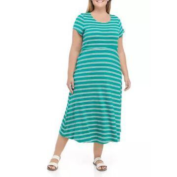 Ronni Nicole Plus Size Stripe Scoop Neck Midi Dress -
