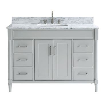 allen + roth Perrella 49-in Light Gray Single Sink Bathroom Vanity with Carrera White Natural Marble Top