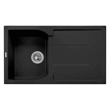 ALFI brand AB1620DI-BLA Black Granite Composite Kitchen Sink w/ Drainb