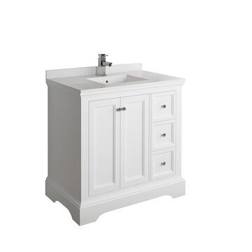 Fresca Fresca Windsor 36-in Matte White Traditional Bathroom Cabinet with Top and Sink
