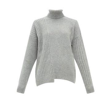 Falke - Roll-neck Asymmetric-hem Wool-blend Sweater - Womens - Grey