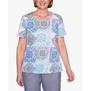 Alfred Dunner Medallion Print Short Sleeve Knit Top