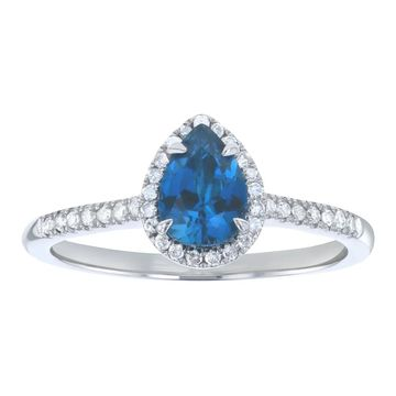 10k White Gold 7/8 ct. Diamonds and Pear London Blue Topaz Halo Ring by Beverly Hills Charm
