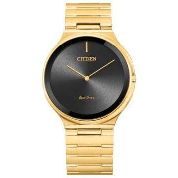 Citizen Eco-Drive Unisex Stiletto Gold-Tone Stainless Steel Bracelet Watch 39mm