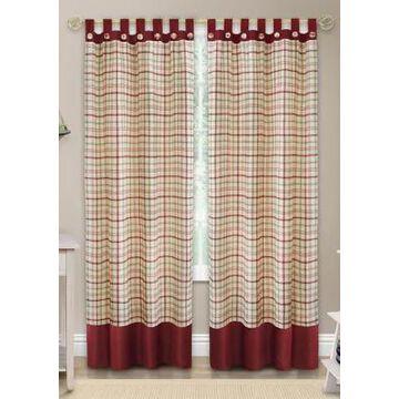 Achim Tattersall Button Tab Top Window Curtain Panel -