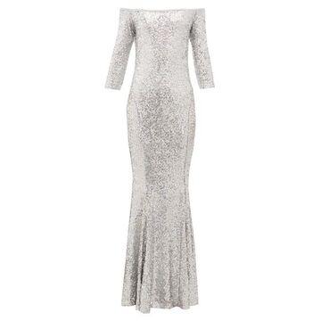 Norma Kamali - Mermaid-hem Off-the-shoulder Sequinned Dress - Womens - Silver