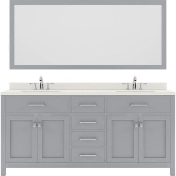 Virtu USA Caroline 72-in Double Bath Vanity in Grey with Dazzle White Top and Round Sink with Polished Chrome Faucet and Mirror in Gray