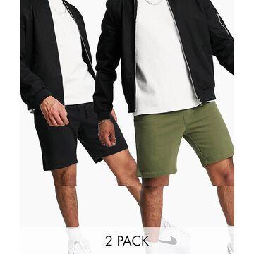 Jack & Jones Intelligence 2 pack sweat shorts in olive & black-Green