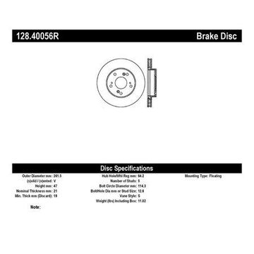 StopTech 128.40056R StopTech Sport Rotors; Drilled; Front Right;10.30 in. Dia.; 1.85 in. Height;