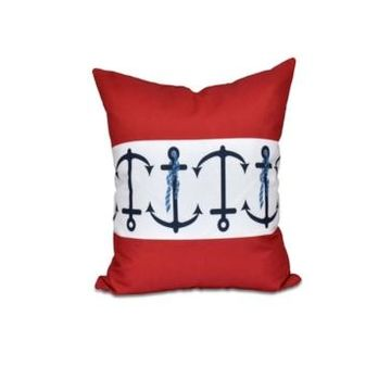 Anchor Stripe 16 Inch Red Decorative Nautical Throw Pillow