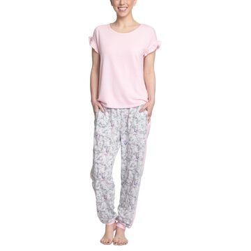 Muk Luks Ruffle-Sleeve Top & Printed Jogger Pants Pajama Set