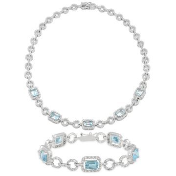 Dolce Giavonna Silverplated Blue Topaz and Diamond Accent Necklace with Bonus Bracelet