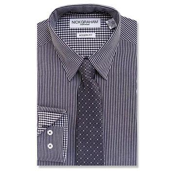 Men's Nick Graham Everywhere Modern-Fit Stretch Dress Shirt & Tie Set, Size: Small 32-33, Black