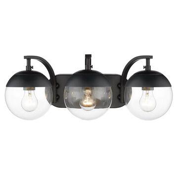 Golden Lighting Dixon 3-Light Black Mid-Century Vanity Light   3219-BA3 BLK-BLK