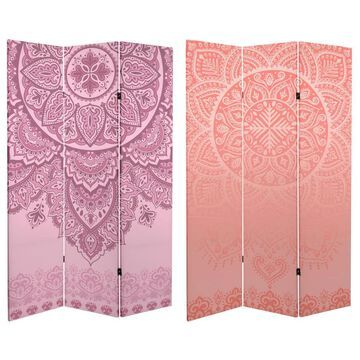 Oriental Furniture 3-Panel Printed Fabric Folding Traditional Style Room Divider in Pink | CAN-IND3