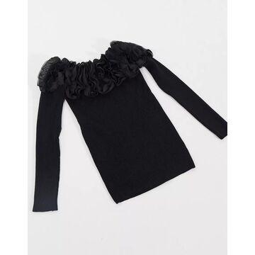 QED London ribbed bardot sweater with ruffle neckline in black