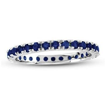 Suzy Levian 14K White Gold Sapphire Eternity Band Ring