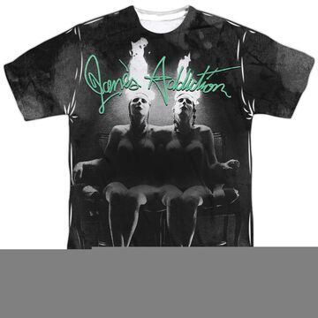 BAND152FB-ATPP-6 Janes Addiction & Nothings Shocking Front & Back Print-Short Sleeve Adult Poly Crew T-Shirt, White - 3X