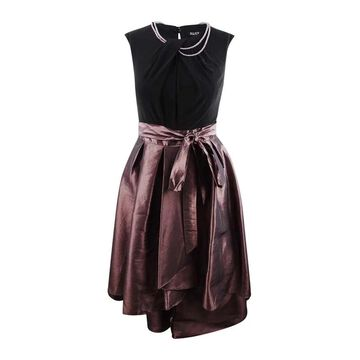 SL Fashions Women's Plus-Size Faux-Pearl-Embellished High-Low Dress - Antique Rose