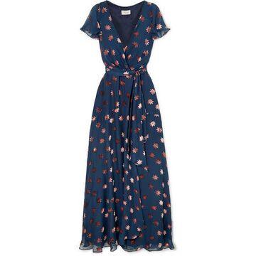 Temperley London - Devore-chiffon Wrap Dress - Navy