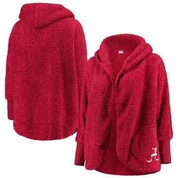 Alabama Crimson Tide ZooZatz Women's Plus Size Happiness Sherpa Hoodie Open Cardigan - Crimson